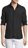 Vilebrequin Linen Long-Sleeve Shirt, Black