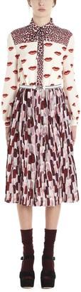Prada Pleated Lipstick Print Dress