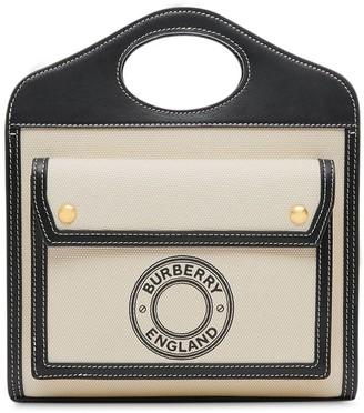 Burberry Mini Logo Canvas & Leather Tote Bag