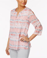 Alfred Dunner Rose Hill Watercolor Studded-Neck Top
