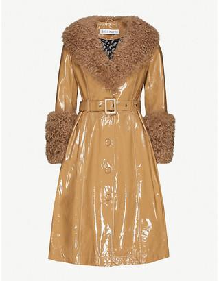 Saks Potts Foxy faux-fur trim glossy-leather jacket