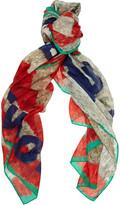 Robot-print cotton and silk-blend scarf