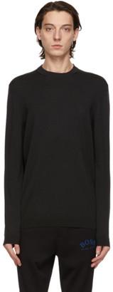 HUGO BOSS Black Wool Ranco Long Sleeve T-Shirt