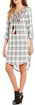 Blu Pepper Plaid Roll Tab Dress