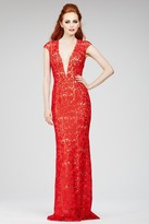 Jovani Elegant Lace Plunging V-Neck Sheath Gown with Cap Sleeves 26337
