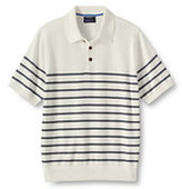 Classic Men's Short Sleeve Supima Cotton Stripe Sweater Polo Navy Flag Pattern