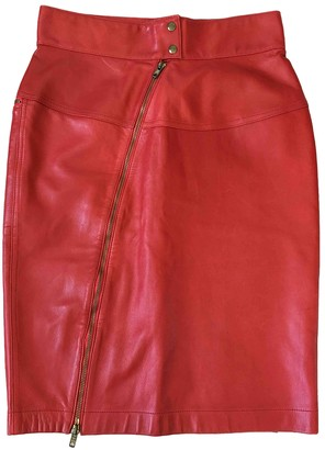 Alaia Red Leather Skirt for Women Vintage