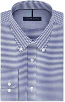 Tommy Hilfiger Men's Big and Tall Blue Fitted Blue Check Dress Shirt
