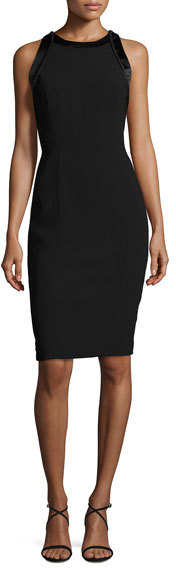 Carmen Marc Valvo Sleeveless Cutout Crepe Cocktail Dress, Black