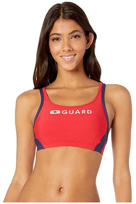 Speedo Guard Sport Bra Top (US Red) Women's Swimwear