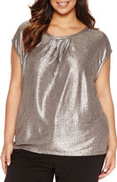 Liz Claiborne Sleeveless Crew Neck Knit Blouse-Plus