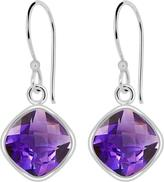 Ice 7 1/5 CT TW Amethyst Rhodium-Plated Sterling Silver Cushion Cut Dangle Earrings