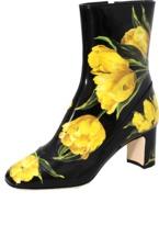 Dolce & Gabbana Tulip Print Patent Boot