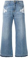 Blugirl floral patch wide leg cropped jeans - women - Cotton/Spandex/Elastane - 44