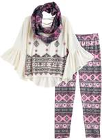 Knitworks Girls 7-16 Patterned Bell Sleeve Top, Leggings & Infinity Scarf Set with Necklace
