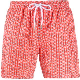 Barba Striped Star Print Swim Shorts