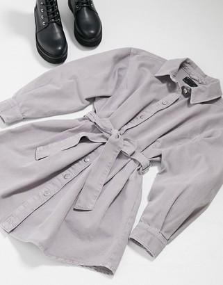 ASOS DESIGN Denim oversized belted shirt dress in washed lavender