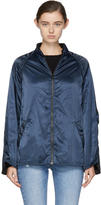 6397 Navy Shirred Bomber Jacket