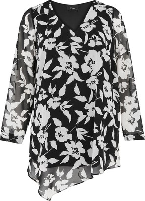 Evans Black Floral Print V-Neck Asymmetric Top
