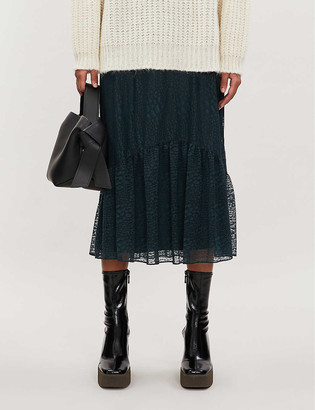 Whistles Ellis animal-print lace midi skirt