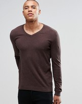 Asos V Neck Jumper In Navy & Tan Twist Cotton