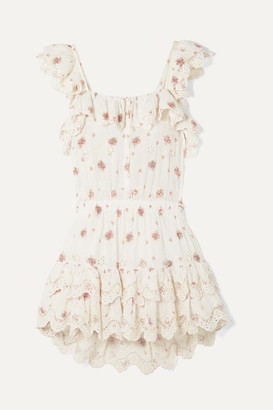 LoveShackFancy Marina Embroidered Floral-print Broderie Anglaise Cotton-voile Mini Dress - Cream