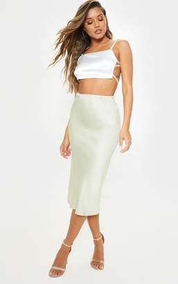 PrettyLittleThing Sage Green Satin Midi Skirt