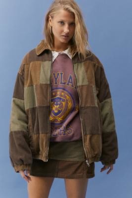 BDG Patchwork Corduroy Harrington Jacket - Brown XS at Urban Outfitters