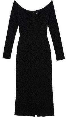 Carolina Herrera Off-The-Shoulder Leopard Jacquard Midi Dress