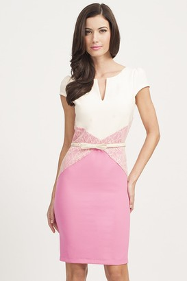 Paper Dolls Pink & Cream Lace Panel Bodycon Dress