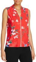 T Tahari Sahara Floral Print Lace Trim Top