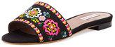 Tabitha Simmons Sprinkles Embroidered Slide Sandal, Black