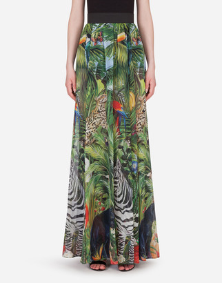 Dolce & Gabbana Long Georgette Skirt With Jungle Forest Print