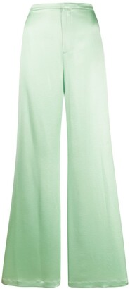 Alexander Wang Shine Wash and Go satin wide leg trousers