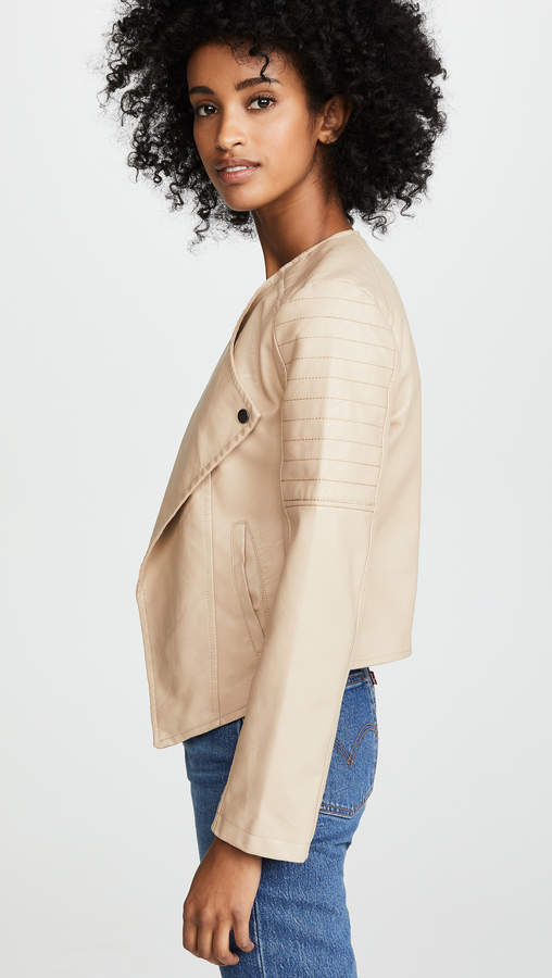 BB Dakota Jack by One More Time Drape Front Vegan Leather Jacket