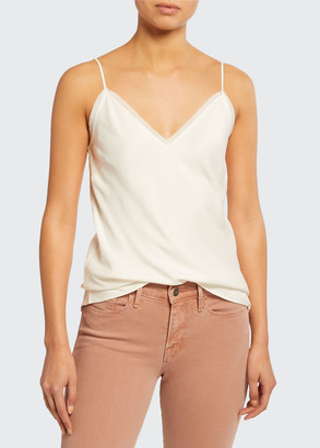 Frame V-Neck Satin Lounge Cami Tank Top