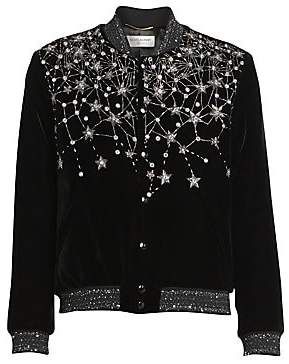 Saint Laurent Women's Embellished Velvet Bomber Jacket
