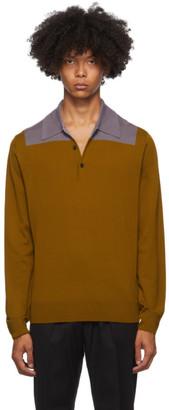 Dries Van Noten Orange and Purple Block Collar Long Sleeve Polo