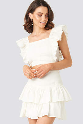 NA-KD Queen Of Jetlags X Lace Detailed Frill Mini Skirt White