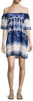 LaBlanca La Blanca Designer Jeans Tie-Dye Lace-Trim Off-the-Shoulder Mini Dress, Blue