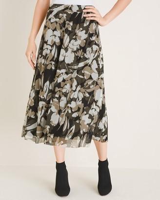 Chico's Printed Mesh Midi Skirt