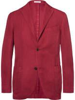 Boglioli Claret Herringbone Cotton And Linen-Blend Blazer