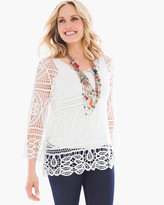 Chico's Lace Drama-Sleeve Pullover