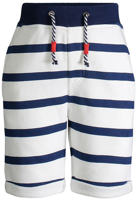 Andy & Evan Boys' Casual Shorts NATURAL - Natural & Blue Stripe French Terry Shorts - Infant, Toddler & Boys