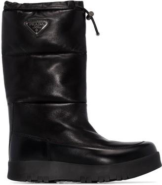 Prada leather moon boots