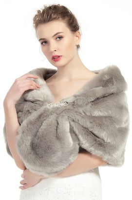 BEAUTELICATE Faux Fur Shawl Wrap for Women Bridal Wedding Shrug Stole Size M L Multi Colors