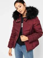 Miss Selfridge Petite burgundy hooded puffer jacket