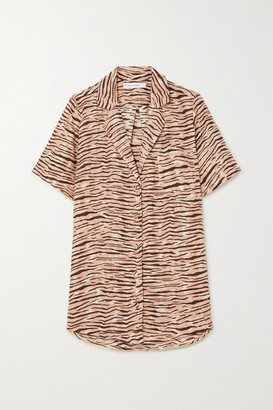 Faithfull The Brand Charlita Tiger-print Linen Shirt - Taupe