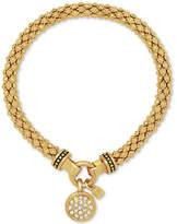 Nine West Pave Charm Weave-Style Stretch Bracelet