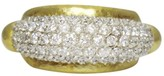 Gurhan 24K Hammered Gold Oval Dome Diamond Ring Size 6.5